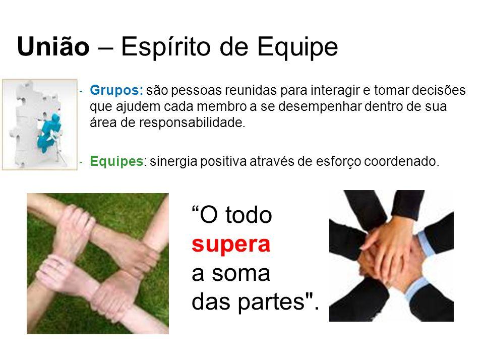 União – Espírito de Equipe –Grupos: são pessoas reunidas para interagir e tomar decisões que ajudem cada membro a se desempenhar dentro de sua área de