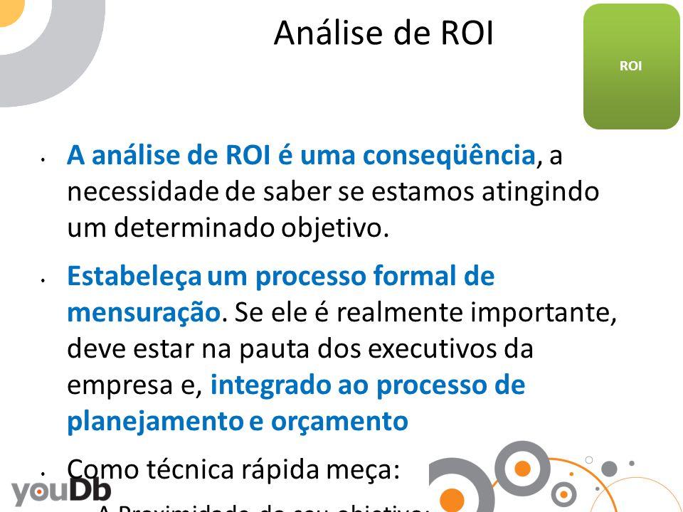 Análise de ROI A análise de ROI é uma conseqüência, a necessidade de saber se estamos atingindo um determinado objetivo. Estabeleça um processo formal