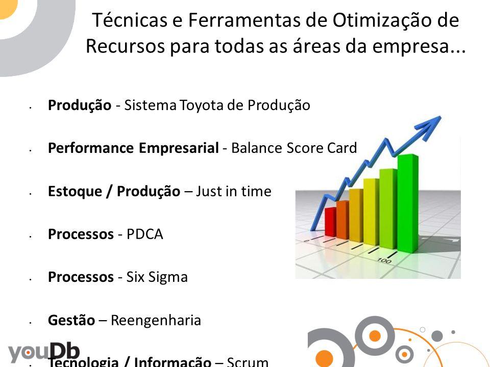 Técnicas e Ferramentas de Otimização de Recursos para todas as áreas da empresa... Produção - Sistema Toyota de Produção Performance Empresarial - Bal