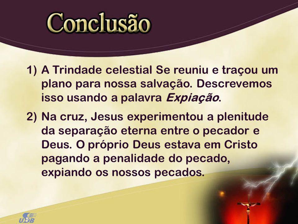 1)A Trindade celestial Se reuniu e traçou um plano para nossa salvação. Descrevemos isso usando a palavra Expiação. 2)Na cruz, Jesus experimentou a pl