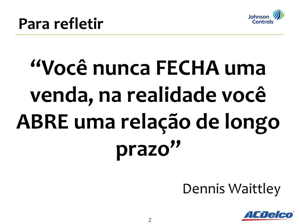 2 Para refletir Você nunca FECHA uma venda, na realidade você ABRE uma relação de longo prazo Dennis Waittley