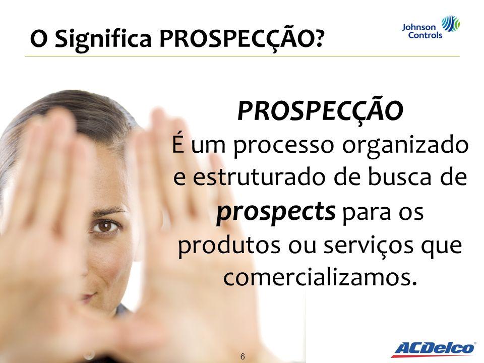 PROSPECÇÃO É um processo organizado e estruturado de busca de prospects para os produtos ou serviços que comercializamos. O Significa PROSPECÇÃO? 6