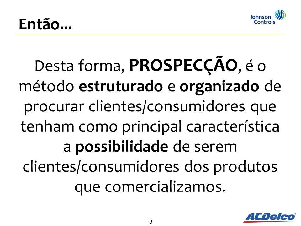 Desta forma, PROSPECÇÃO, é o método estruturado e organizado de procurar clientes/consumidores que tenham como principal característica a possibilidad