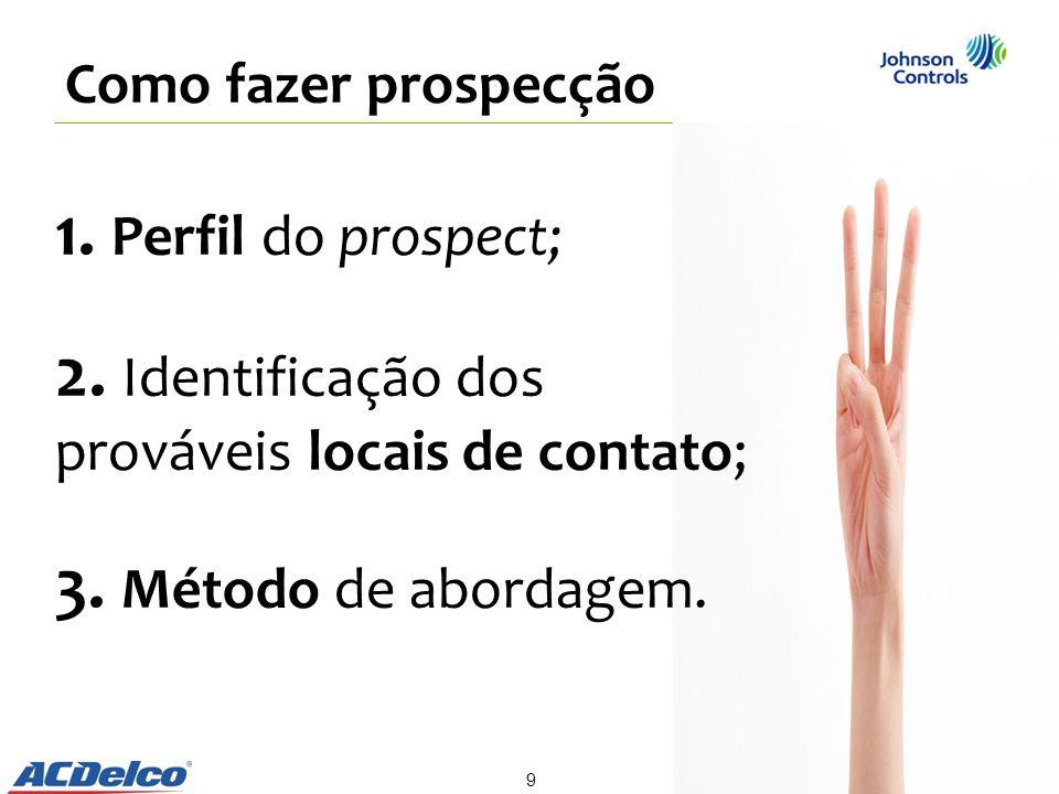 1. Perfil do prospect; 2. Identificação dos prováveis locais de contato; 3. Método de abordagem. Como fazer prospecção 9