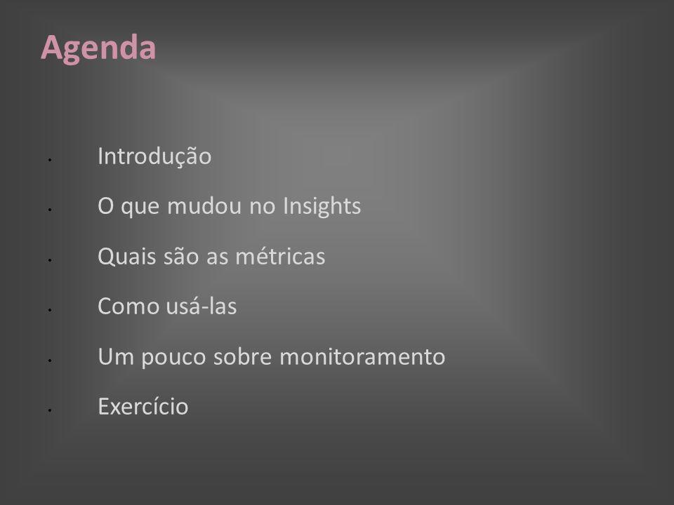 Agenda Introdução O que mudou no Insights Quais são as métricas Como usá-las Um pouco sobre monitoramento Exercício