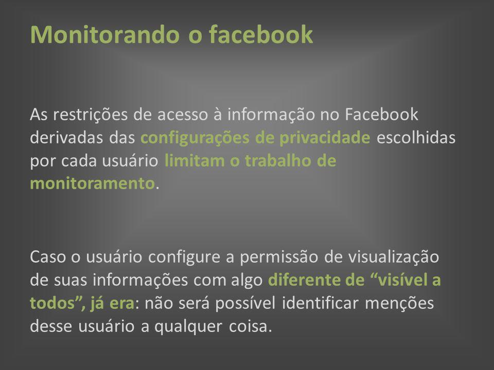 Monitorando o facebook As restrições de acesso à informação no Facebook derivadas das configurações de privacidade escolhidas por cada usuário limitam o trabalho de monitoramento.