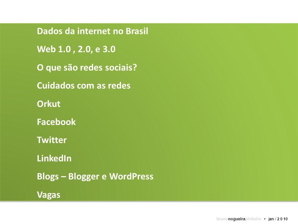 Dados da internet no Brasil Web 1.0, 2.0, e 3.0 O que são redes sociais? Cuidados com as redes Orkut Facebook Twitter LinkedIn Blogs – Blogger e WordP