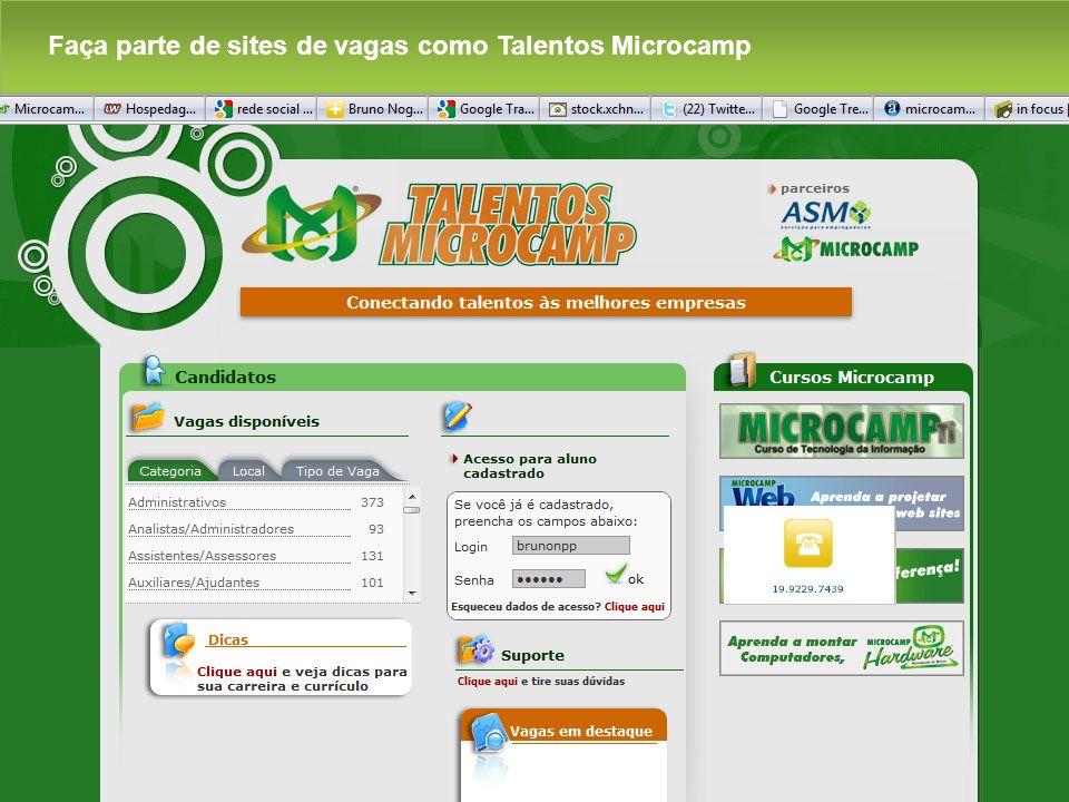 Faça parte de sites de vagas como Talentos Microcamp