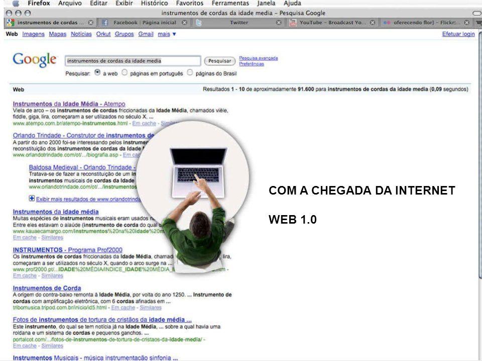 COM A CHEGADA DA INTERNET WEB 1.0