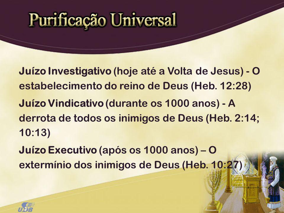 Juízo Investigativo (hoje até a Volta de Jesus) - O estabelecimento do reino de Deus (Heb. 12:28) Juízo Vindicativo (durante os 1000 anos) - A derrota