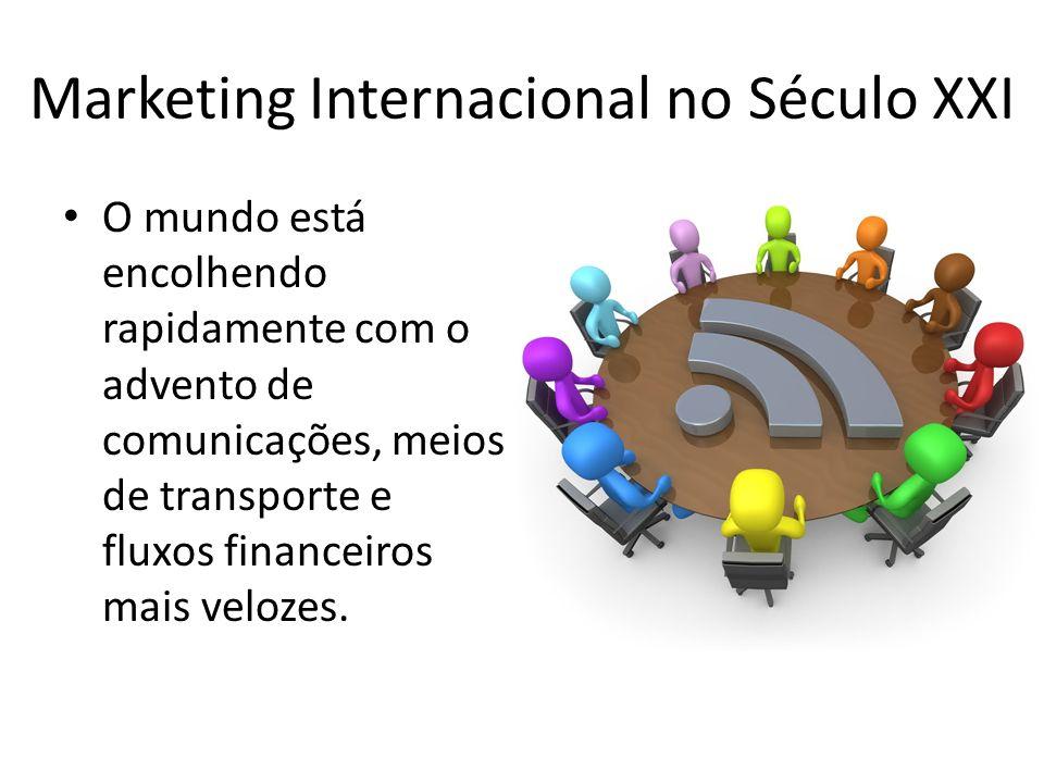 Marketing Internacional no Século XXI O mundo está encolhendo rapidamente com o advento de comunicações, meios de transporte e fluxos financeiros mais