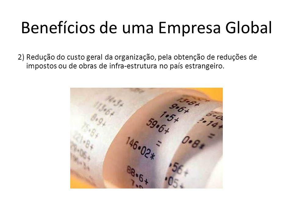 Benefícios de uma Empresa Global 2) Redução do custo geral da organização, pela obtenção de reduções de impostos ou de obras de infra-estrutura no paí
