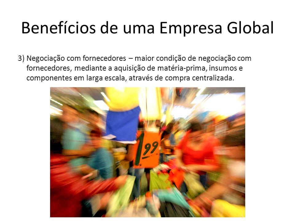 Benefícios de uma Empresa Global 3) Negociação com fornecedores – maior condição de negociação com fornecedores, mediante a aquisição de matéria-prima