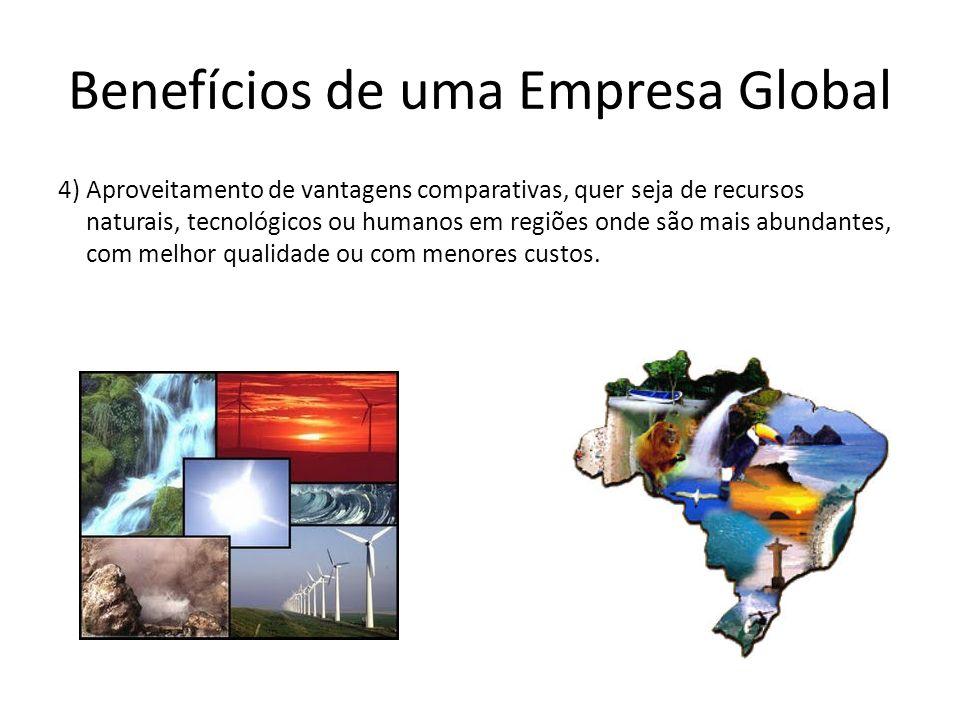 Benefícios de uma Empresa Global 4) Aproveitamento de vantagens comparativas, quer seja de recursos naturais, tecnológicos ou humanos em regiões onde
