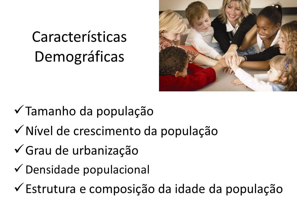 Características Demográficas Tamanho da população Nível de crescimento da população Grau de urbanização Densidade populacional Estrutura e composição
