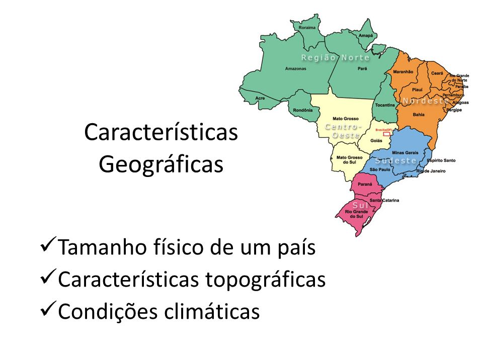 Características Geográficas Tamanho físico de um país Características topográficas Condições climáticas