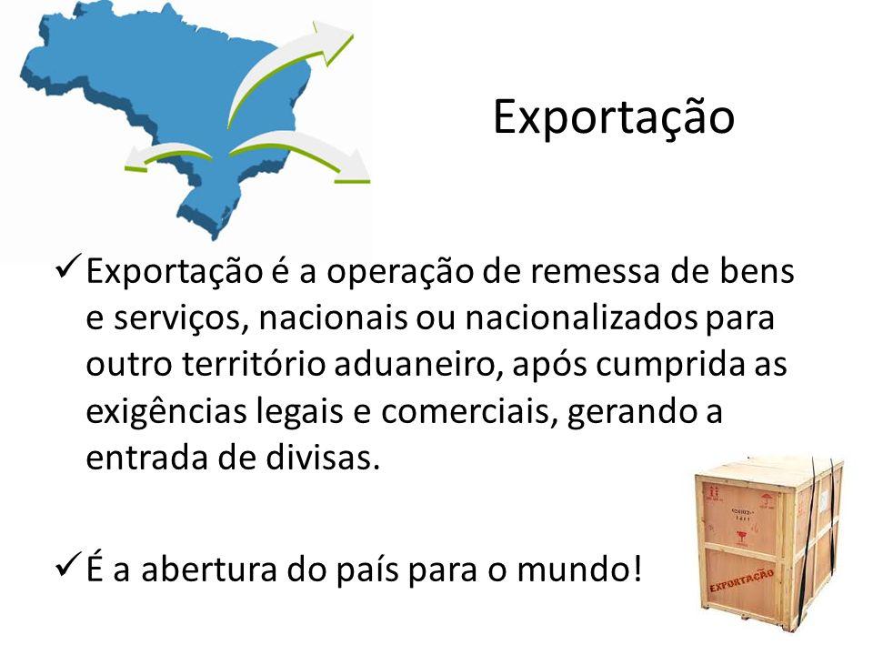 Exportação Exportação é a operação de remessa de bens e serviços, nacionais ou nacionalizados para outro território aduaneiro, após cumprida as exigên