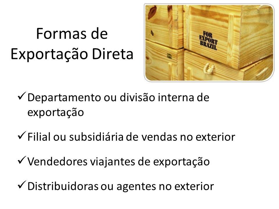 Formas de Exportação Direta Departamento ou divisão interna de exportação Filial ou subsidiária de vendas no exterior Vendedores viajantes de exportaç