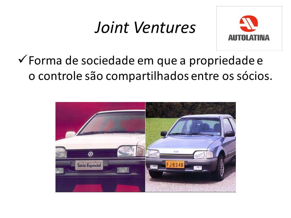 Joint Ventures Forma de sociedade em que a propriedade e o controle são compartilhados entre os sócios.