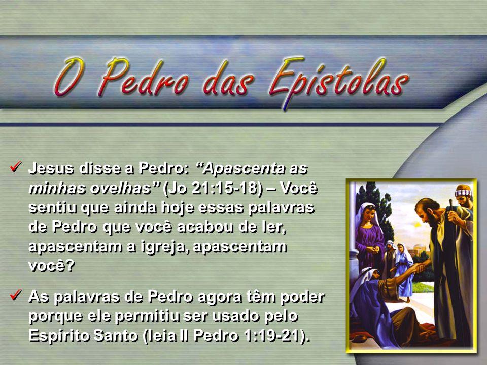 Jesus disse a Pedro: Apascenta as minhas ovelhas (Jo 21:15-18) – Você sentiu que ainda hoje essas palavras de Pedro que você acabou de ler, apascentam
