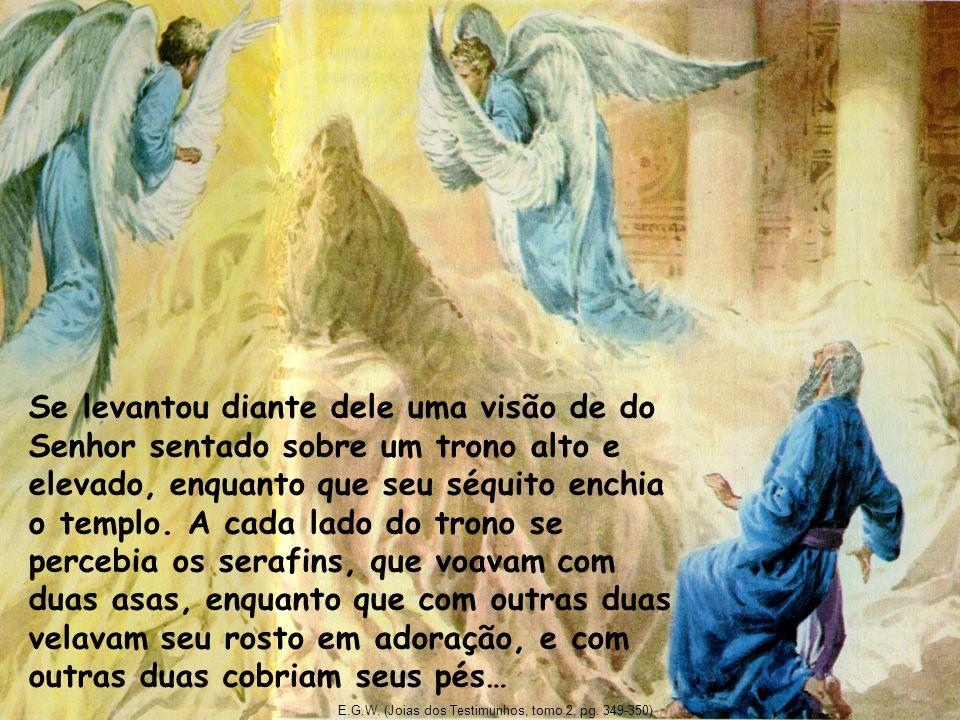 Se levantou diante dele uma visão de do Senhor sentado sobre um trono alto e elevado, enquanto que seu séquito enchia o templo. A cada lado do trono s