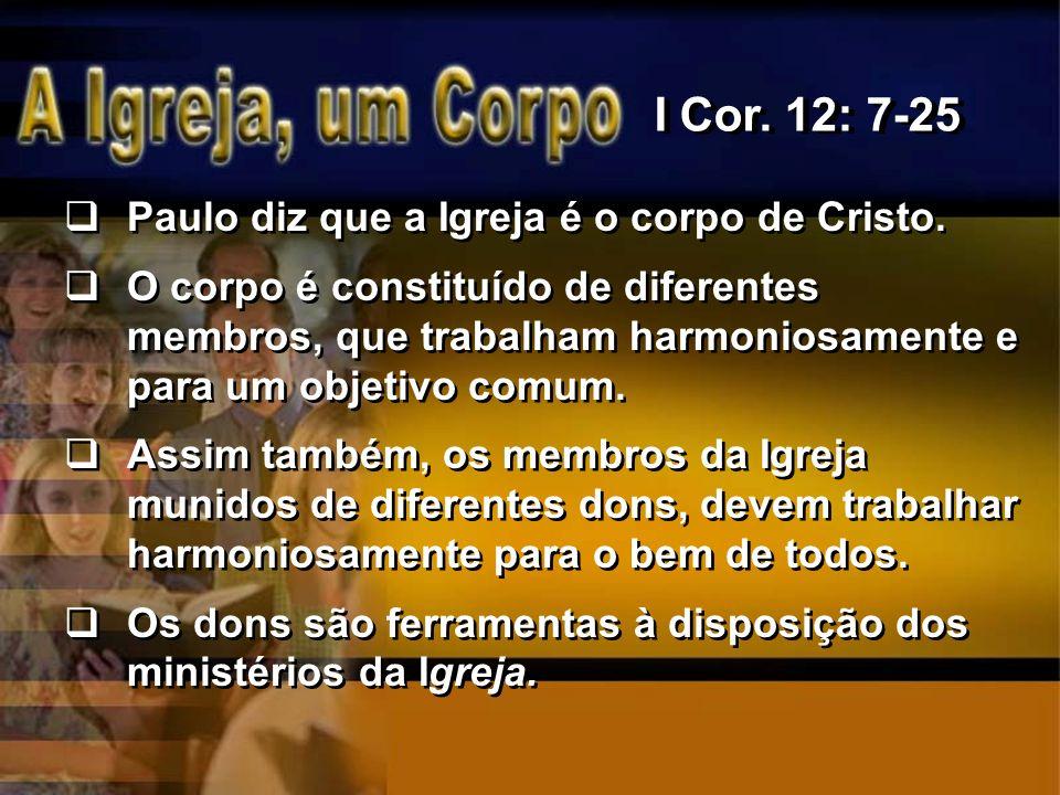 Paulo diz que a Igreja é o corpo de Cristo. O corpo é constituído de diferentes membros, que trabalham harmoniosamente e para um objetivo comum. Assim
