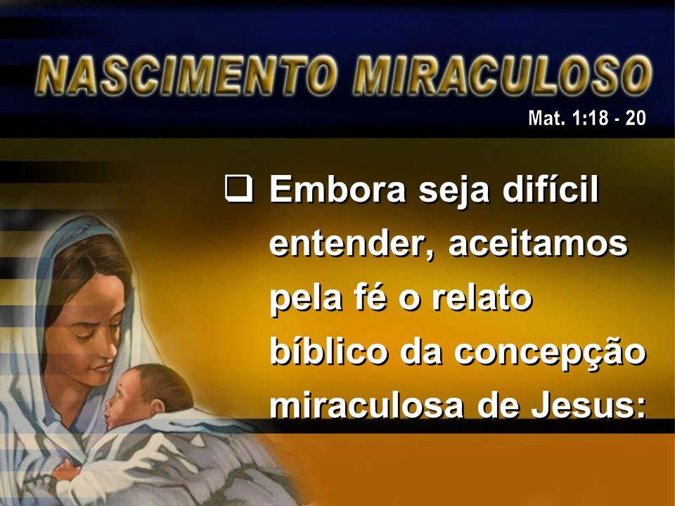 Embora seja difícil entender, aceitamos pela fé o relato bíblico da concepção miraculosa de Jesus: