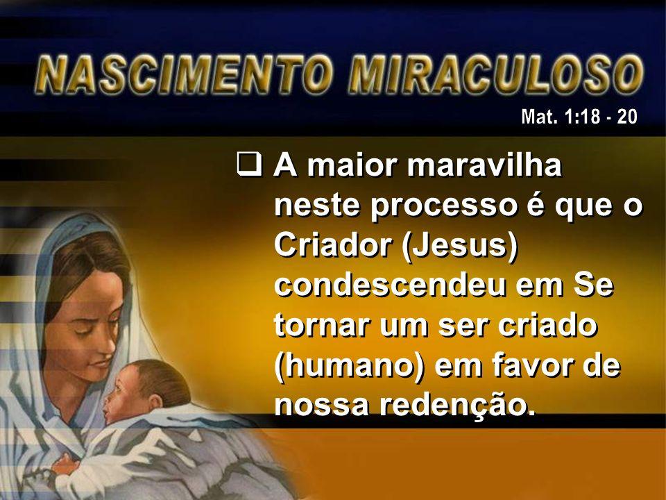 A maior maravilha neste processo é que o Criador (Jesus) condescendeu em Se tornar um ser criado (humano) em favor de nossa redenção.