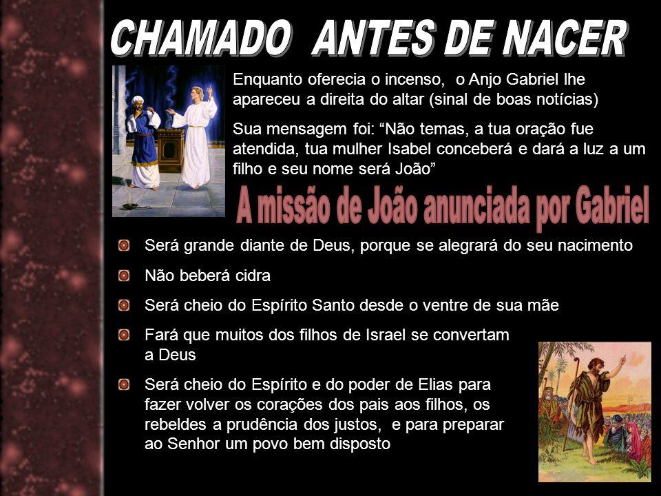 Enquanto oferecia o incenso, o Anjo Gabriel lhe apareceu a direita do altar (sinal de boas notícias) Sua mensagem foi: Não temas, a tua oração fue ate