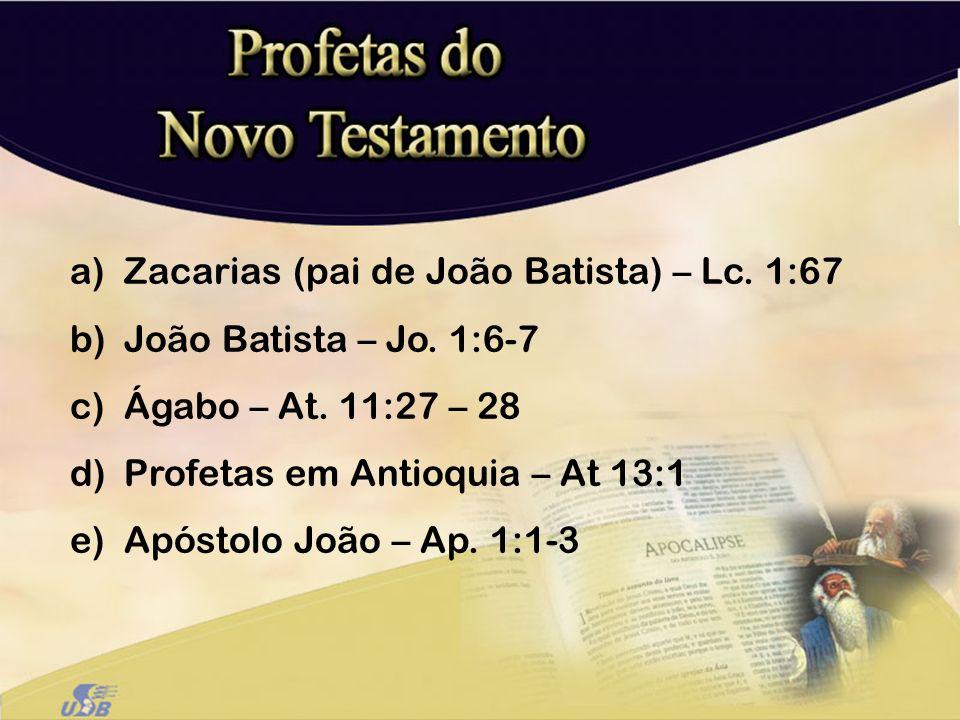a)Zacarias (pai de João Batista) – Lc. 1:67 b)João Batista – Jo. 1:6-7 c)Ágabo – At. 11:27 – 28 d)Profetas em Antioquia – At 13:1 e)Apóstolo João – Ap