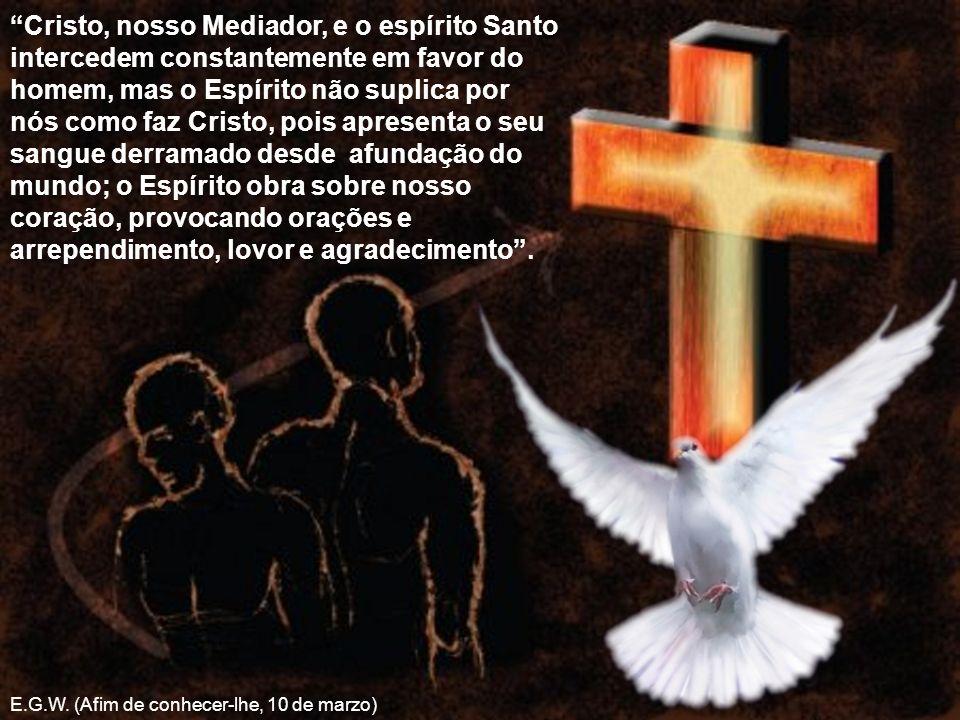 Cristo, nosso Mediador, e o espírito Santo intercedem constantemente em favor do homem, mas o Espírito não suplica por nós como faz Cristo, pois apres