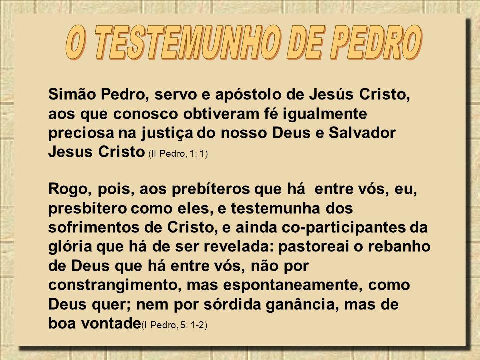 Rogo, pois, aos prebíteros que há entre vós, eu, presbítero como eles, e testemunha dos sofrimentos de Cristo, e ainda co-participantes da glória que