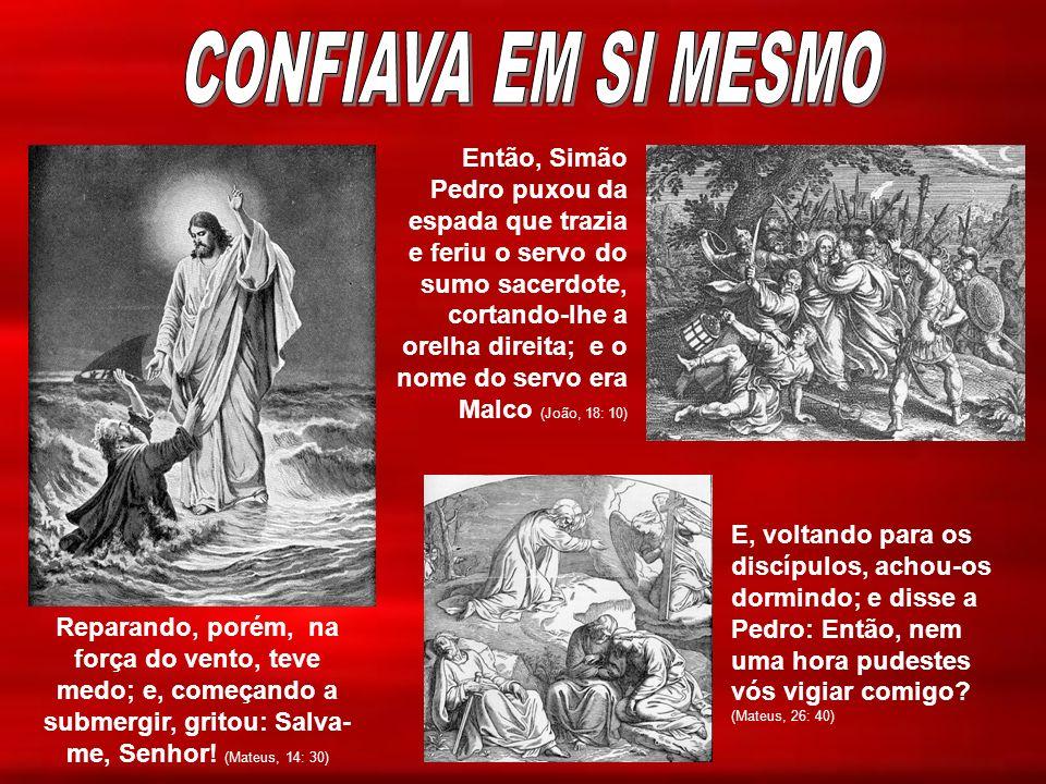 Reparando, porém, na força do vento, teve medo; e, começando a submergir, gritou: Salva- me, Senhor! (Mateus, 14: 30) Então, Simão Pedro puxou da espa