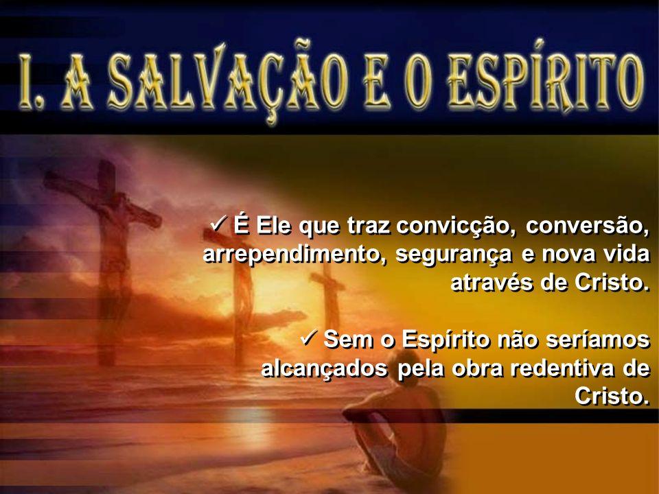 É Ele que traz convicção, conversão, arrependimento, segurança e nova vida através de Cristo. Sem o Espírito não seríamos alcançados pela obra redenti