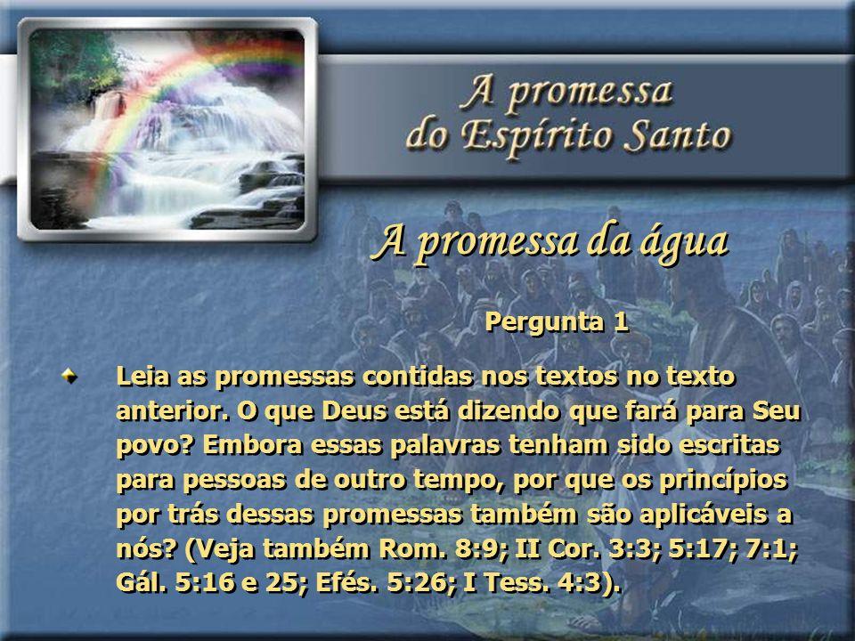 Pergunta 1 Leia as promessas contidas nos textos no texto anterior. O que Deus está dizendo que fará para Seu povo? Embora essas palavras tenham sido