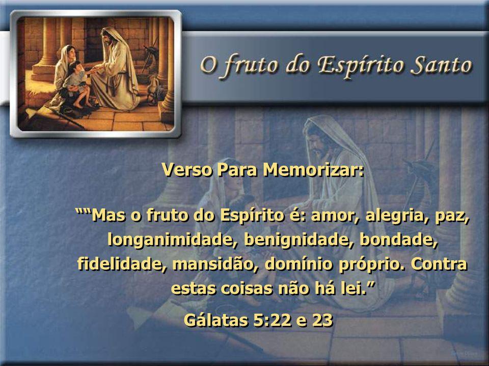 Mas o fruto do Espírito é: amor, alegria, paz, longanimidade, benignidade, bondade, fidelidade, mansidão, domínio próprio. Contra estas coisas não há