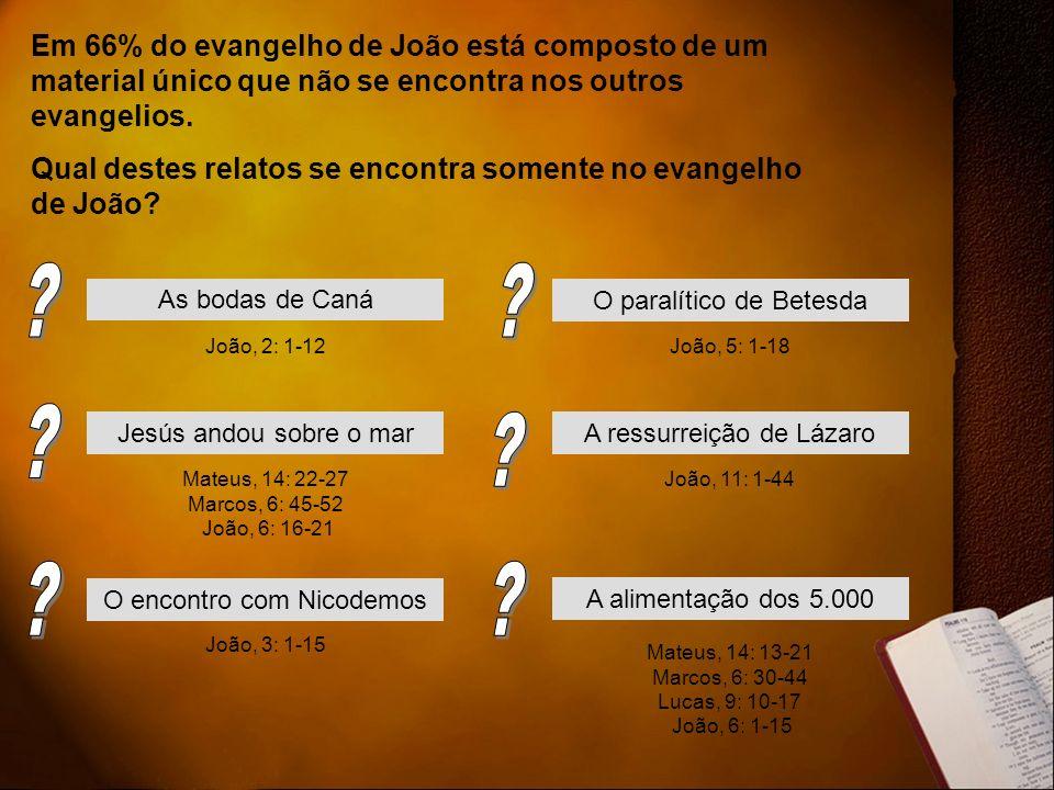 Em 66% do evangelho de João está composto de um material único que não se encontra nos outros evangelios. Qual destes relatos se encontra somente no e
