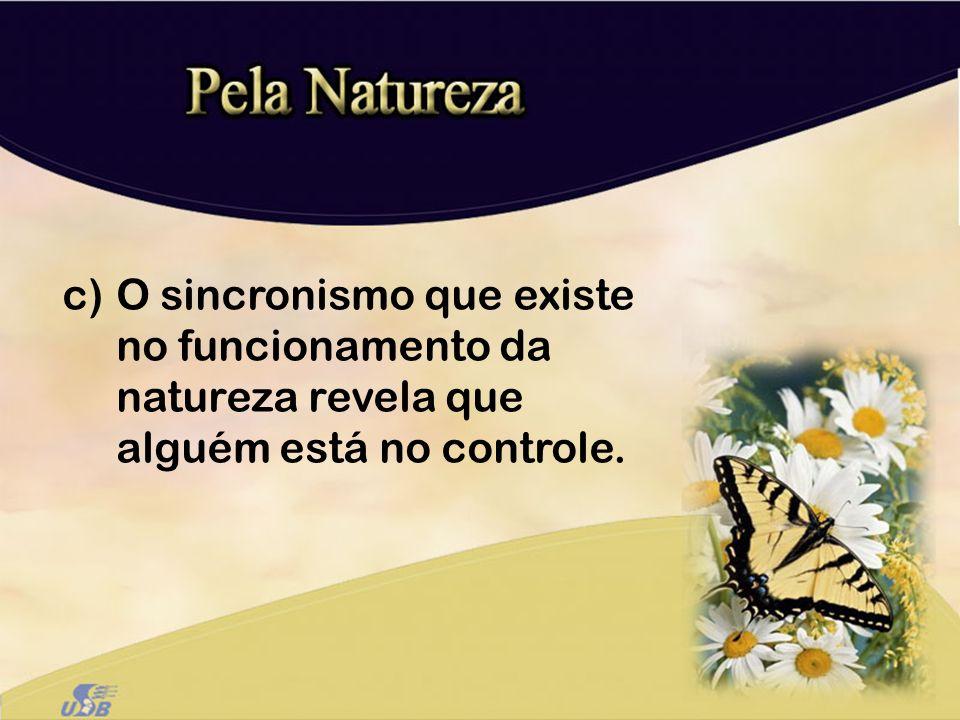 c)O sincronismo que existe no funcionamento da natureza revela que alguém está no controle.