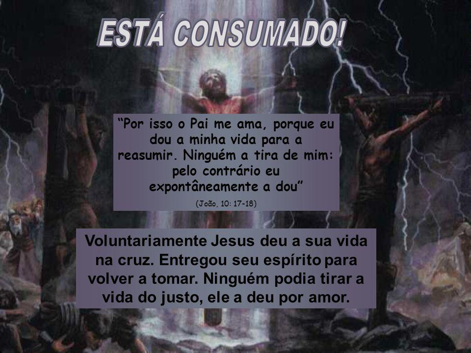 Voluntariamente Jesus deu a sua vida na cruz. Entregou seu espírito para volver a tomar. Ninguém podia tirar a vida do justo, ele a deu por amor. Por