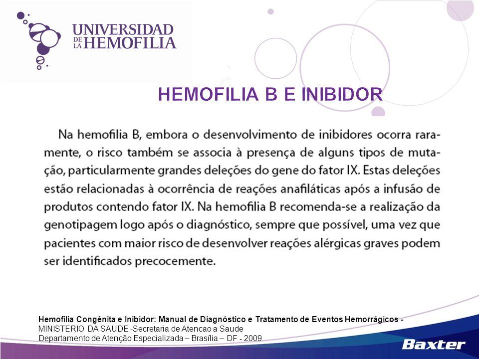 Hemofilia Congênita e Inibidor: Manual de Diagnóstico e Tratamento de Eventos Hemorrágicos - MINISTERIO DA SAUDE -Secretaria de Atencao a Saude Depart
