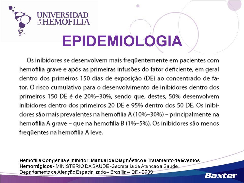 EPIDEMIOLOGIA Hemofilia Congênita e Inibidor: Manual de Diagnóstico e Tratamento de Eventos Hemorrágicos - MINISTERIO DA SAUDE -Secretaria de Atencao