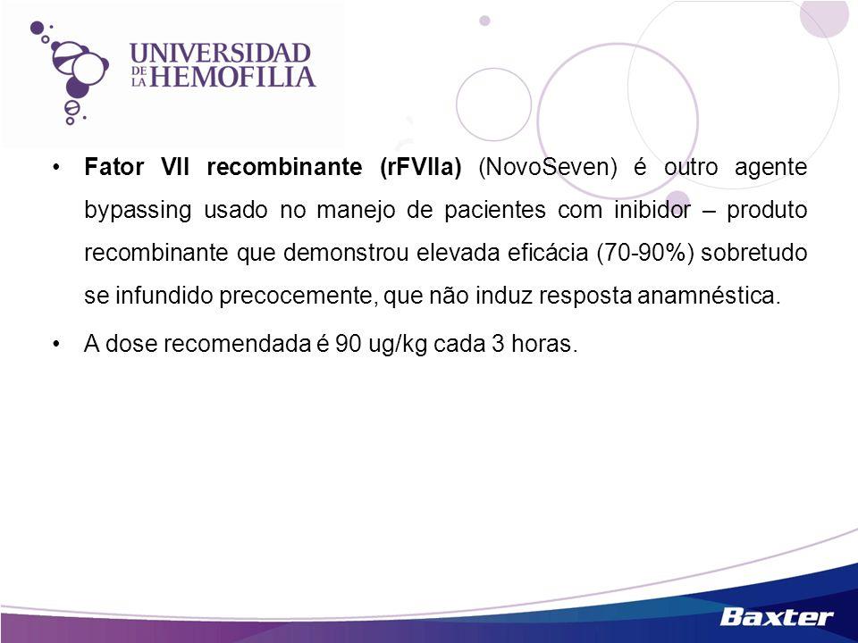 Fator VII recombinante (rFVIIa) (NovoSeven) é outro agente bypassing usado no manejo de pacientes com inibidor – produto recombinante que demonstrou e