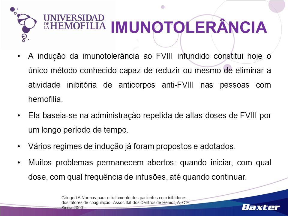 A indução da imunotolerância ao FVIII infundido constitui hoje o único método conhecido capaz de reduzir ou mesmo de eliminar a atividade inibitória d