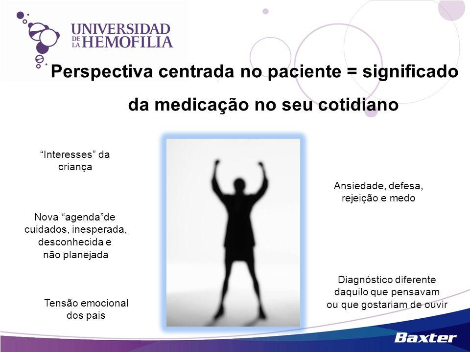 Perspectiva centrada no paciente = significado da medicação no seu cotidiano Interesses da criança Tensão emocional dos pais Ansiedade, defesa, rejeiç