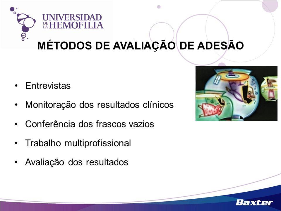 MÉTODOS DE AVALIAÇÃO DE ADESÃO Entrevistas Monitoração dos resultados clínicos Conferência dos frascos vazios Trabalho multiprofissional Avaliação dos