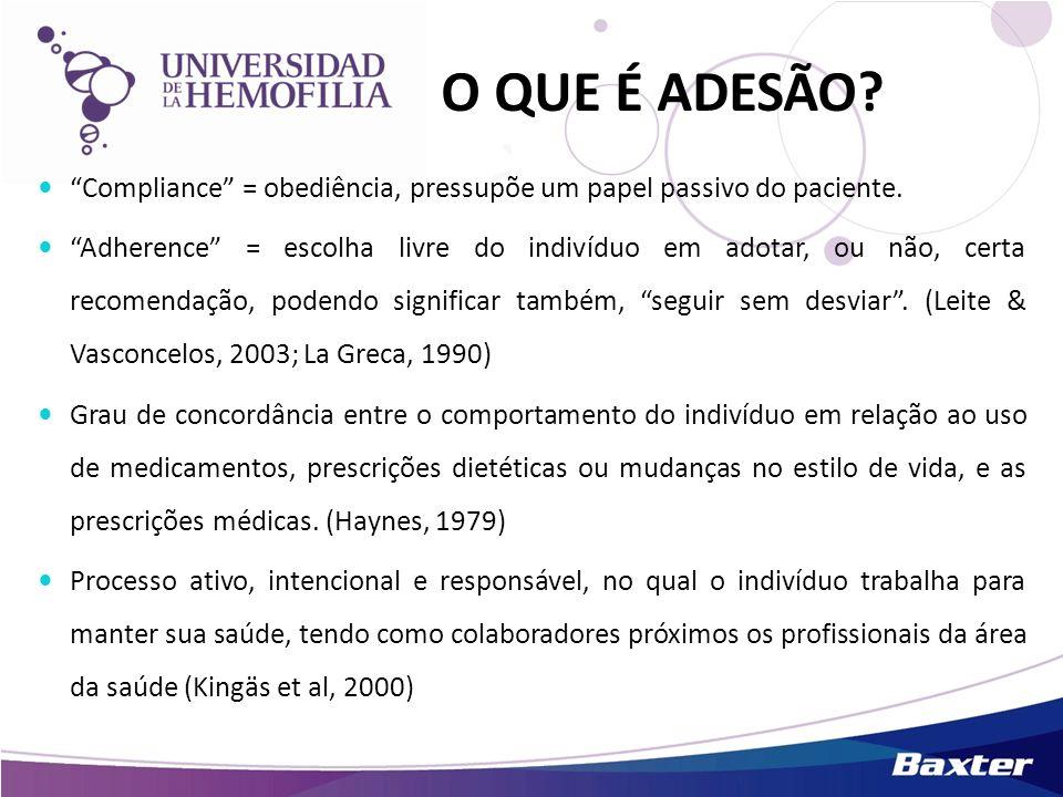 O QUE É ADESÃO? Compliance = obediência, pressupõe um papel passivo do paciente. Adherence = escolha livre do indivíduo em adotar, ou não, certa recom