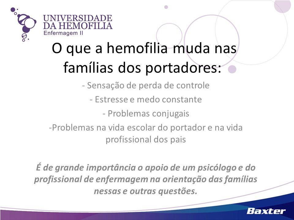 O que a hemofilia muda nas famílias dos portadores: - Sensação de perda de controle - Estresse e medo constante - Problemas conjugais -Problemas na vi