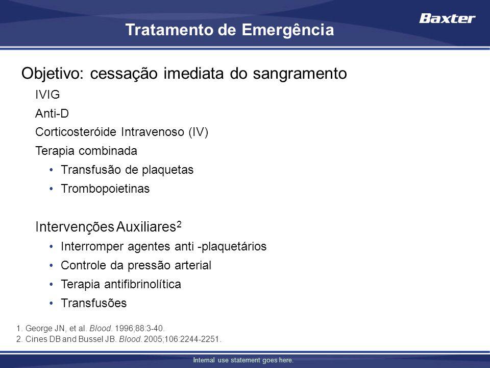 Internal use statement goes here. Tratamento de Emergência Objetivo: cessação imediata do sangramento IVIG Anti-D Corticosteróide Intravenoso (IV) Ter