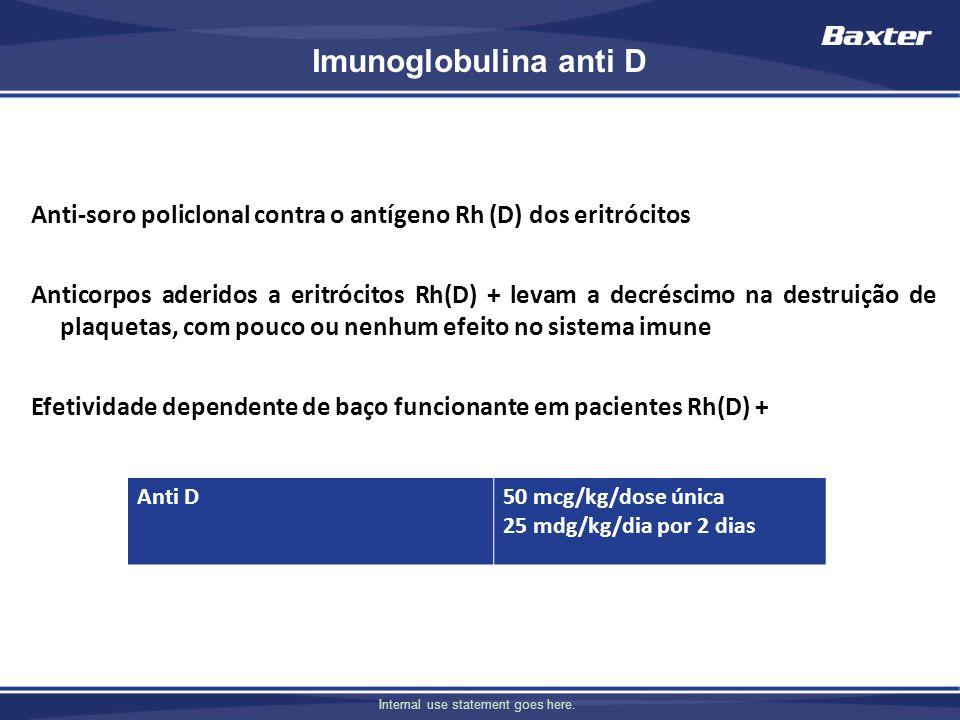 Internal use statement goes here. Imunoglobulina anti D Anti-soro policlonal contra o antígeno Rh (D) dos eritrócitos Anticorpos aderidos a eritrócito