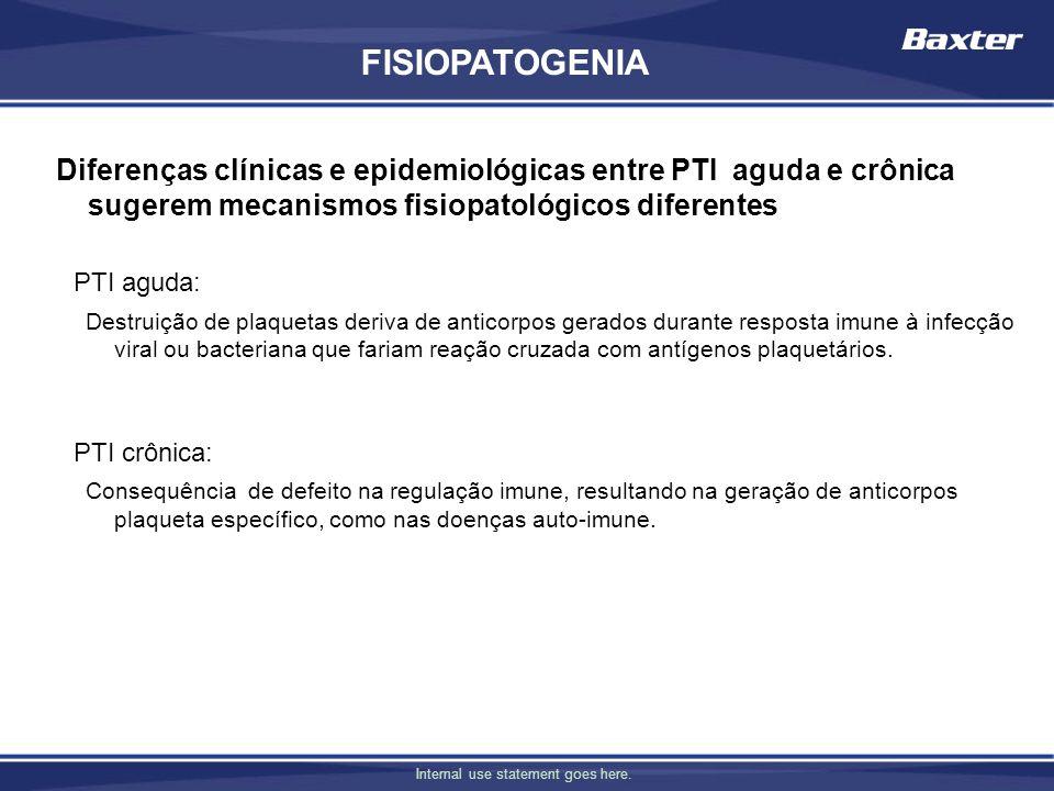 Internal use statement goes here. PTI aguda: Destruição de plaquetas deriva de anticorpos gerados durante resposta imune à infecção viral ou bacterian